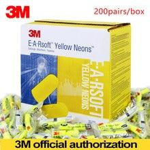 3M Tampões de Bala E-A-Ea-rsoft Amarelo Neon 312-1250 Redução de Ruído Sem Fio Elástico NRR:33dB/SNR:36dB LT086