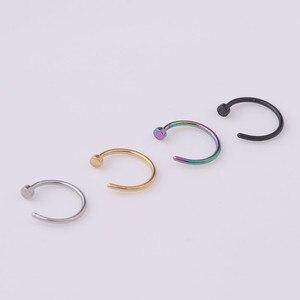 1 шт./лот 6/8/10 мм кольцо для носа в стиле панк из нержавеющей стали с зажимом для губ, сережки в виде спирального кольца, искусственная перегородка, пирсинг тела, ювелирные изделия