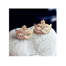 Hot Sale Full Rhinestones Magic Mask Stud Earrings For Women Girls Gold Color Statement Exquisite Gift Wholesale