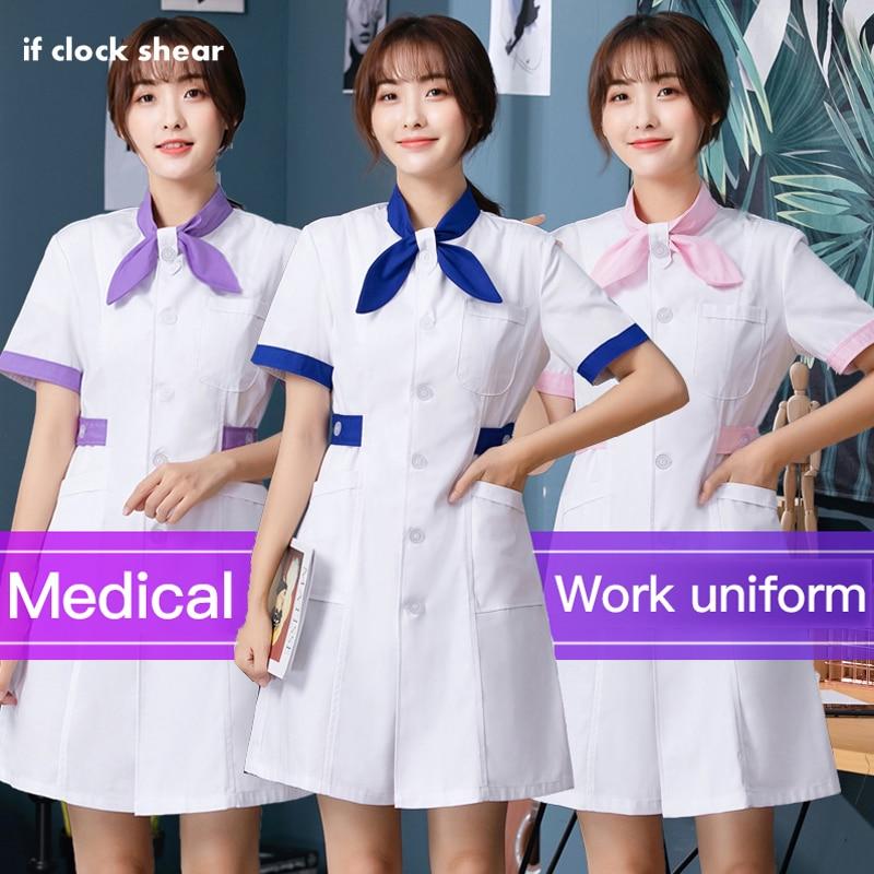 Female nurse uniforms doctor uniform overalls pharmacy lab coat doctor costume female hospital overalls bow neckline new whosale