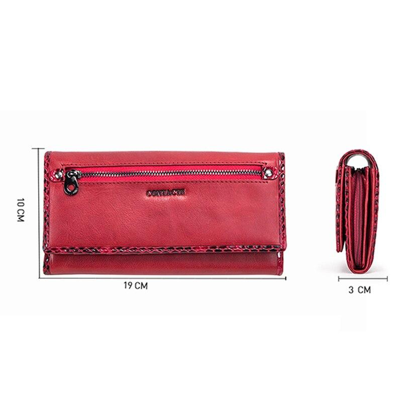 Купить с кэшбэком Contact's Long Women Wallets Genuine Leather Large Capacity Ladies Card Phone Wallets Coin Purses Carteira RFID Clutch Wallets