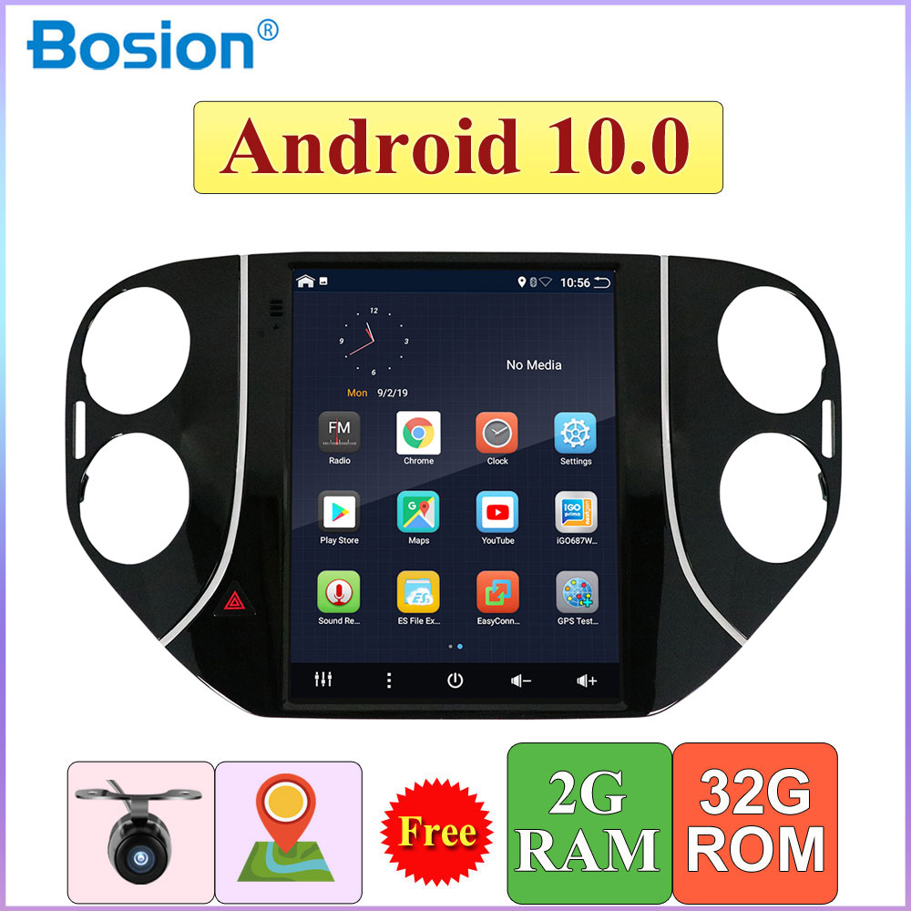 32G ROM Vertical screen android 10 car gps multimedia video radio player in dash for Volkswagen Tiguan 2010-2015 navigation image