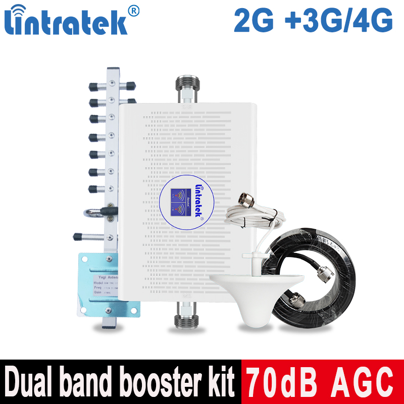 Lintratek 2G 3G 4G Celluar Signal Repeater GSM 900 1800 LTE Mobile Phone Signal Booster GSM WCDMA 2100 Internet Amplifier 70db @
