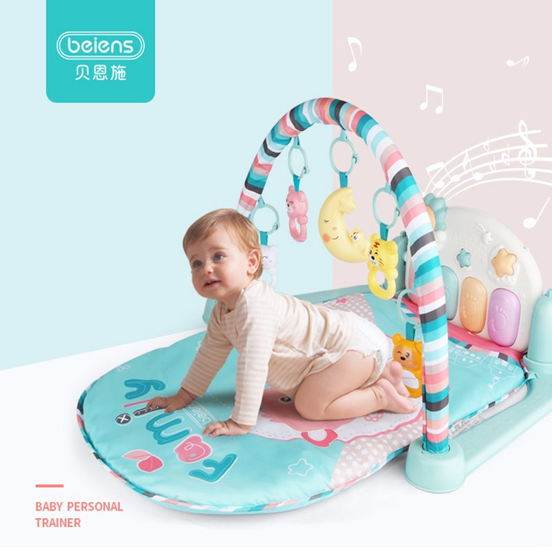 Beiens Baby Play Mat 3 In 1 Gym Mat Infant Activity Playmat Kids Carpet Piano Rattles Toys For Children Educational Crawling Rug