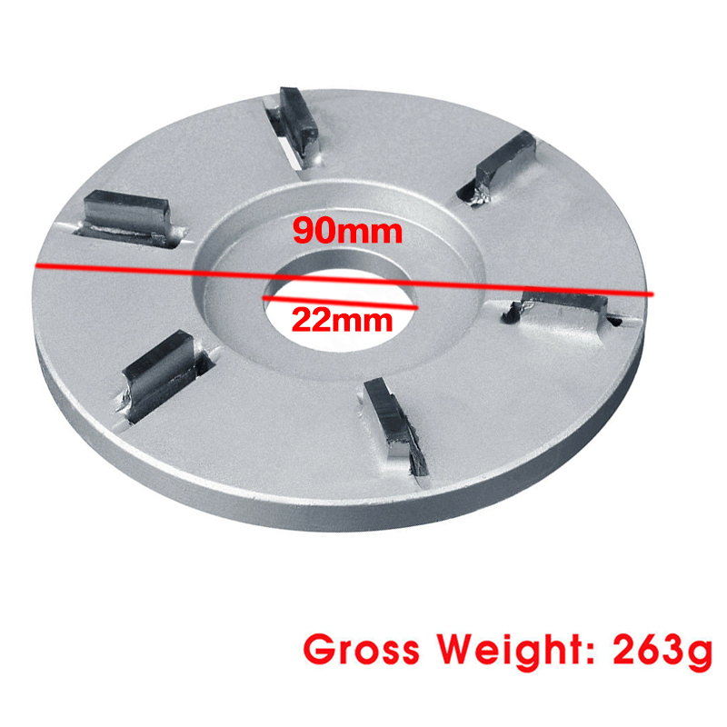 6 Teeth Power Wood Carving Disc Tool Millling Cutter 90mm Diameter 22mm Bore Woodworking Plane Abrasive Disc For Angle Grinder
