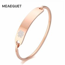 Personalized Women Cuff Bracelet In Rose Golden Type 1 Diabetes Medical Femme Bangle Pulseira Mom Gift(China)