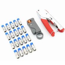Koncentryczne narzędzie do zaciskania kabli zestaw szczypce do wyciskania i ściągacz izolacji do RG58 RG59 RG6 kabel koncentryczny Crimper ze złączami kompresyjnymi