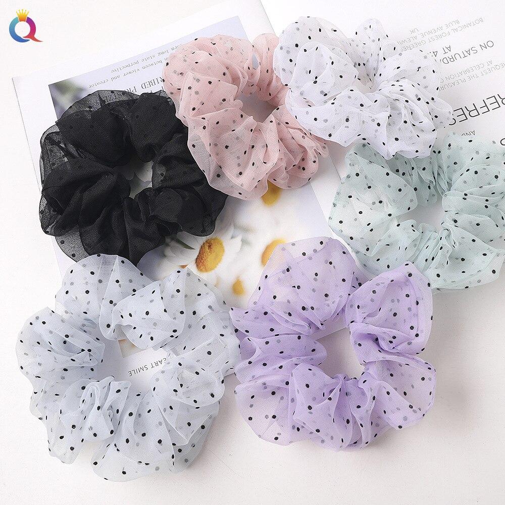 Latest Net Yarn Chiffon Scrunchie Women Girls Elastic Hair Rubber Bands Accessories Tie Hair Ring Rope Ponytail Holder Headdress