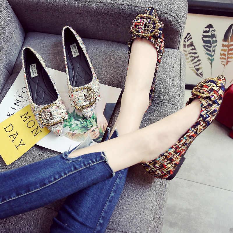 Marka tasarımcısı tüvit Flats ayakkabı kadınlar zarif ofis bayan iş ayakkabısı rahat kayma balerin loafer'lar Zapatos De Mujer P515