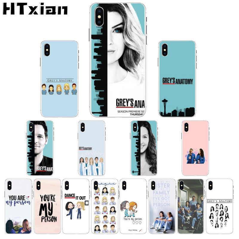 Htxian Amerika TV Grays Anatomy Transparan Soft Shell Penutup Telepon untuk iPhone 11 Pro XS MAX 8 7 6 6S Plus X 5 5S SE XR Cover