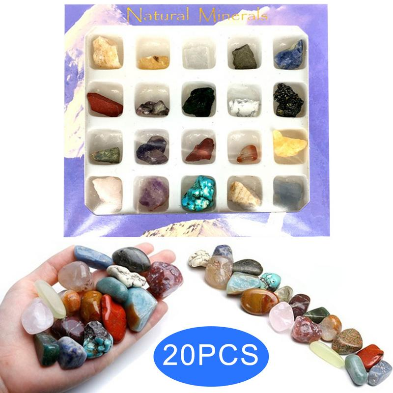 20pcs Irregular Tumbled Mini Ores Stone Collection Art Ornament Decoration Set Gifts Stones And Crystals Natural Stones Minerals
