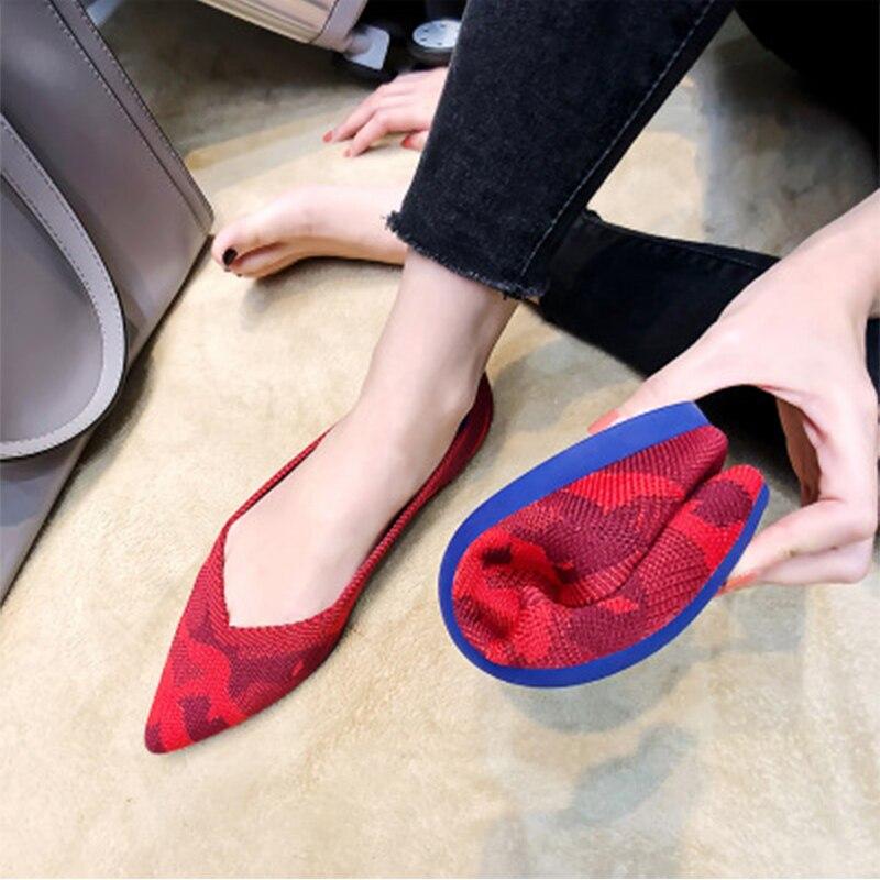 2019 Women's Flat Shoes Ballet Shoes Breathable Knit Pointed Shoes Moccasin Mixed Color Women's Soft Shoes Women Zapatos De 2