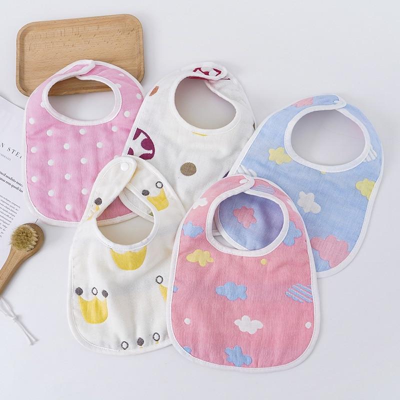 Any Seasons Cute Infant Baby Boys Girls Saliva Towel Bib Cartoon Printing Washable U Shaped Soft Bib Gauze Absorbent Drool Towel