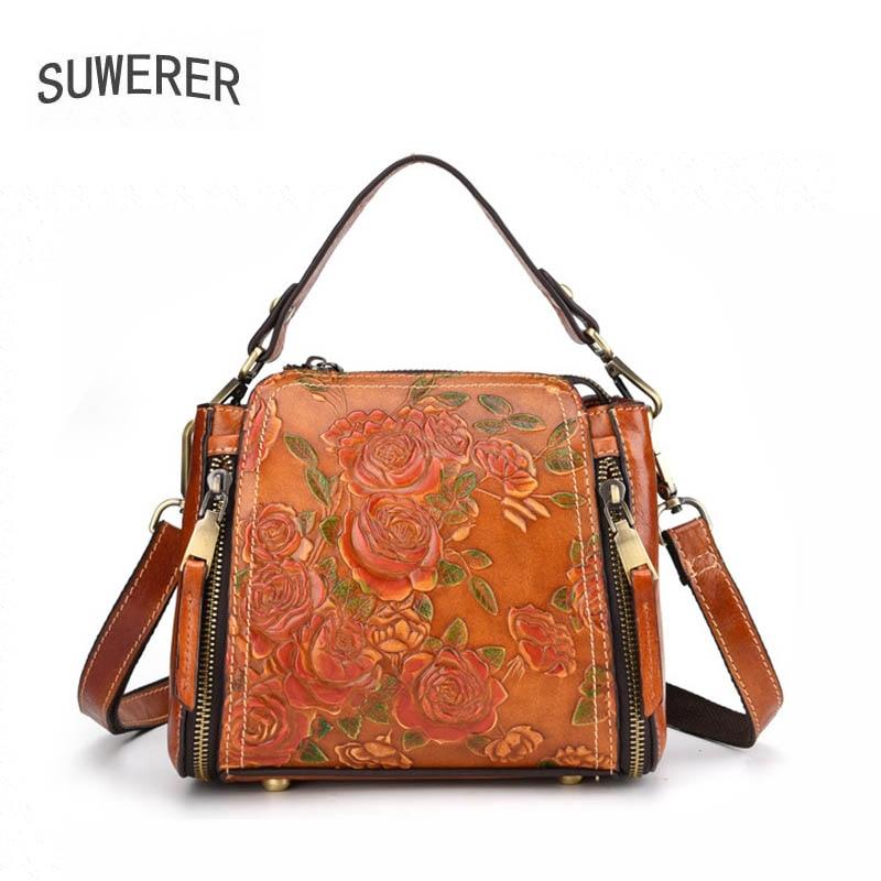 SUWERER luxury handbags women bags designer bags famous brand women bags 2019 new crossbody bags for women Genuine Leather handbags cowhide embossing bag