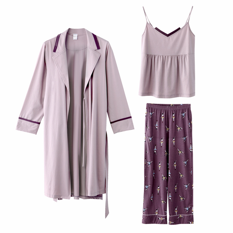 Cotton Pajamas Autumn Winter Women's Warm Casual 3 Piece Set Solid Color Sling Printed Trousers Lapel Long Nightgown Women's 25