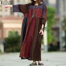 Платье zanzea женское с круглым вырезом модный весенний сарафан