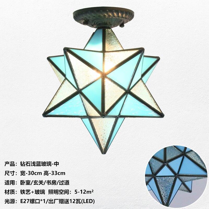 Американская пентаграмма входной свет коридор балкон потолочный светильник спальня столовая креативная звезда стеклянная лампа - Цвет корпуса: H