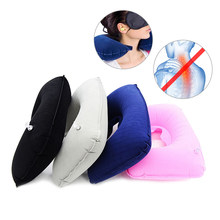 U-Shape Pillow Eye Mask Ear Plugs Set Air Inflatable Neck Pillows Tour Travel Airplane Car Seat Sleep Neck Cushion Home Textile(China)