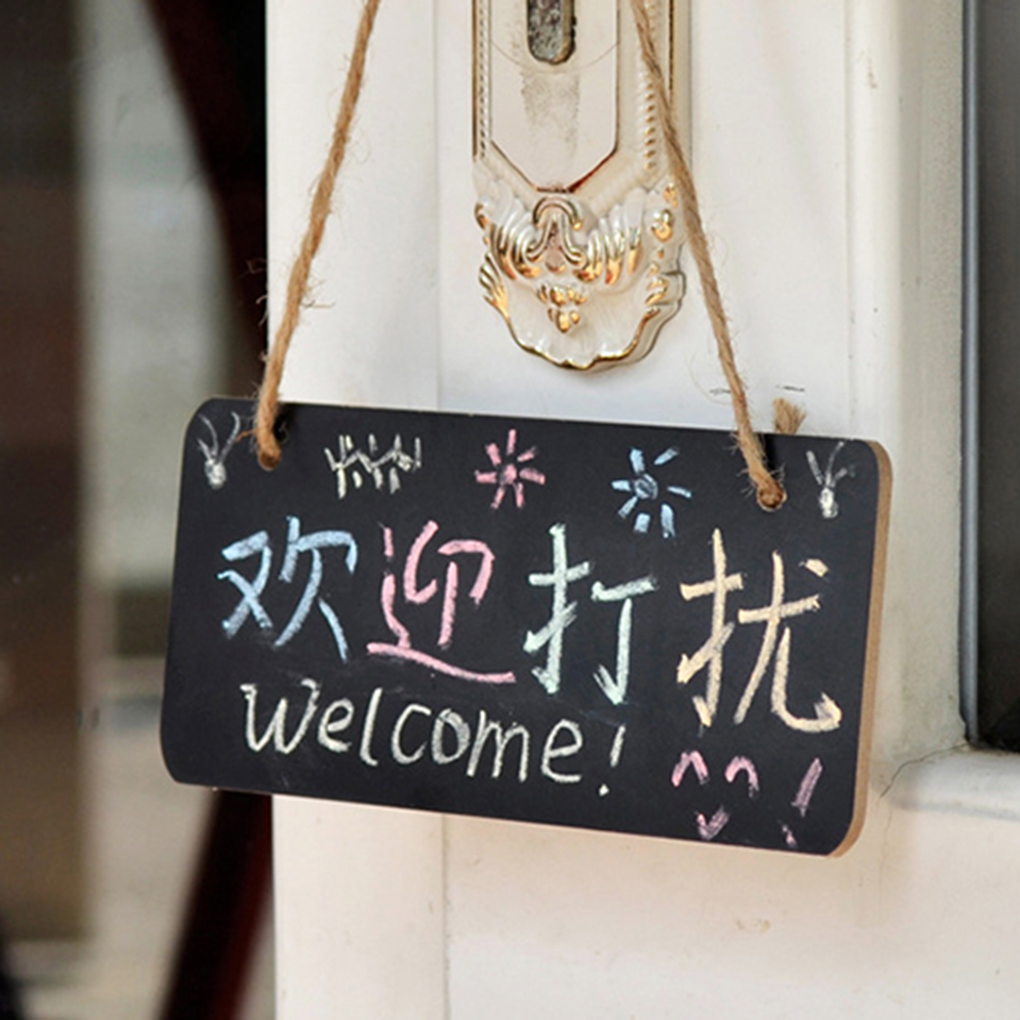 Mini Rectangle Blackboard Wooden Message Board For Home Bar Coffee Shop