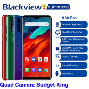 "Image 1 - Blackview A80 Pro Quad Rear Camera Octa Core 4GB+64GB Mobile Phone 6.49"" Waterdrop 4680mAh 4G Celular Smartphone Global Version"