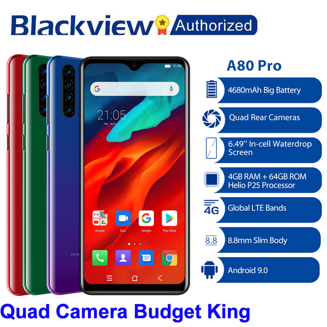 "Blackview A80 Pro Quad Rear Camera Octa Core 4GB+64GB Mobile Phone 6.49"" Waterdrop 4680mAh 4G Celular Smartphone Global Version"