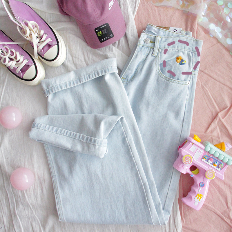 Harajuku Embroidered Small Flower Jeans Ins Loose High Waist Pants Cotton Vintage Sky Blue Jeans School Girl Jeans Female Pants