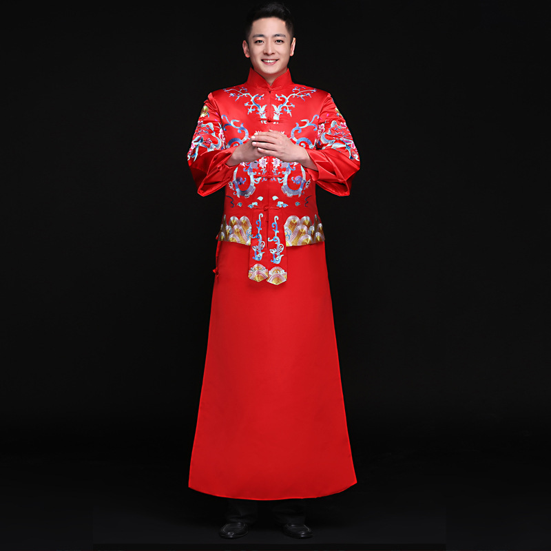 Men Dragon Costume SuZhou Embroidery Chinese Style Oriental Bridegroom Wedding Jacket+Gown Suit Toast Clothing Marriage Suit