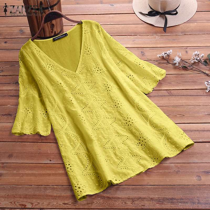 ZANZEA Summer V Neck Embroidery Blouse Elegant Women Short Sleeve Cotton Linen Shirt Casual Tops Blusas Baggy Solid Top Chemise