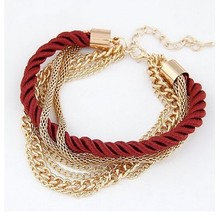 Multilayer metal chain Bracelet European style fashion Braided rope for women brincos jewelry mujer Jewelry