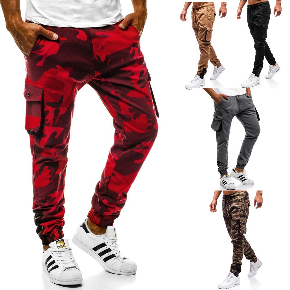 2019 New Style Men Casual Camouflage Tatting Fitness Pants Hot Selling Multi-pockets Bib Overall Gymnastic Pants Men's