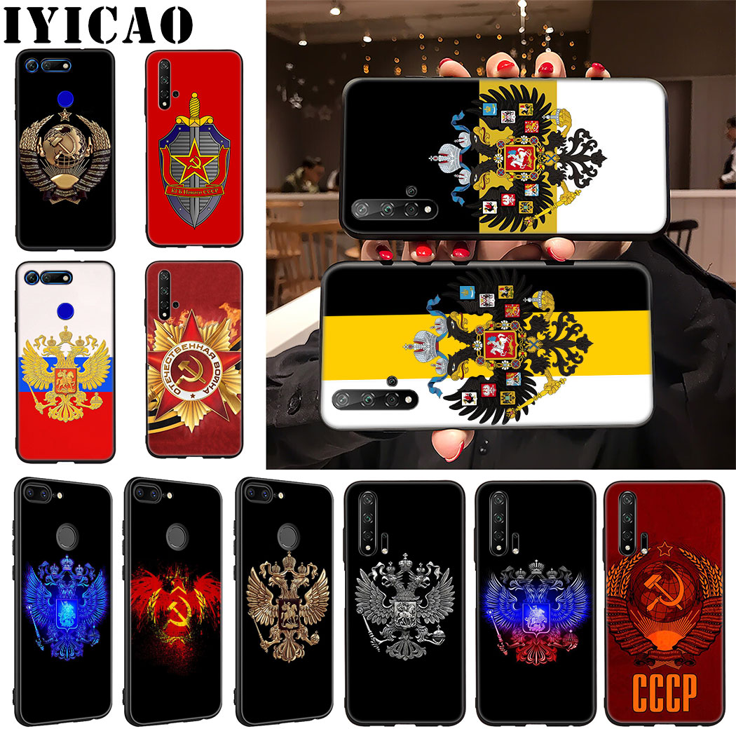 IYICAO Russia Flag coat of arms Soft Phone <font><b>Case</b></font> for Huawei <font><b>Honor</b></font> 9X 20 Pro 7A 7C 7X 8 9 <font><b>10</b></font> <font><b>Lite</b></font> 8X 8C Note <font><b>10</b></font> View 20 <font><b>Case</b></font> image
