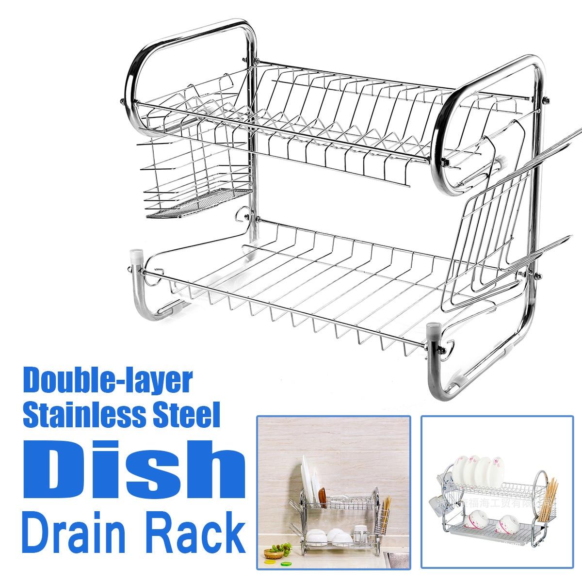 多機能 2 一層食器乾燥ラックホルダーバスケットステンレス鋼ホームキッチンシンク水切り乾燥ラックオーガナイザー