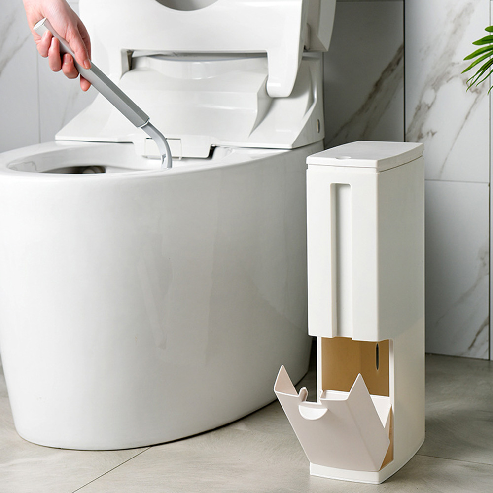 Bathroom trash can household toilet brush set with cover narrow new