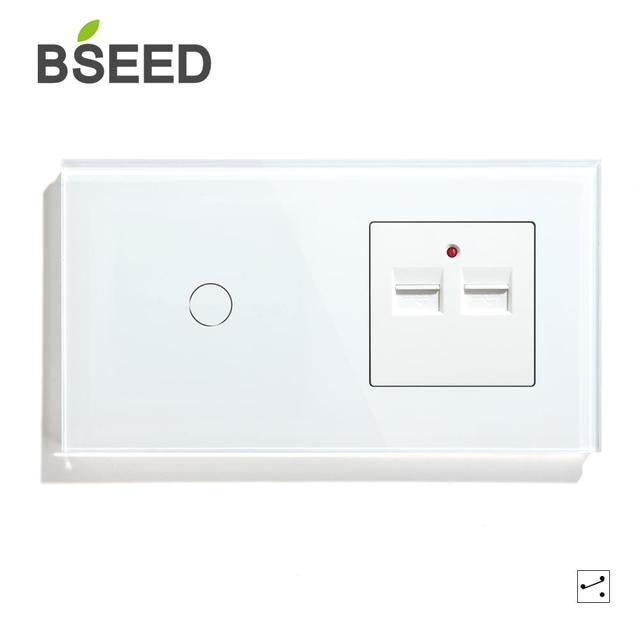 Bseed האיחוד האירופי מגע 1 כנופיית 1 דרך 2 דרך קיר מגע מתג עם שני USB שקע שחור לבן זהב צבע עם קריסטל לוח