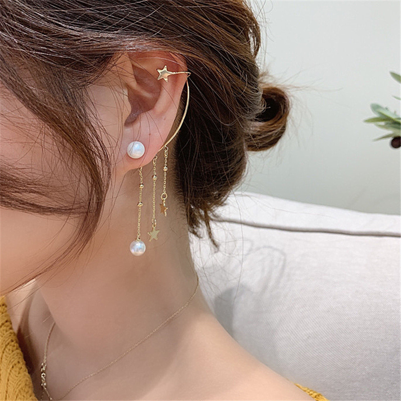 2020 New Fashion Imitation Pearl Chain Ear Cuff Cartilage Earrings For Women Elegant Flower Long Tassel Ear Clip Female Jewelry 42