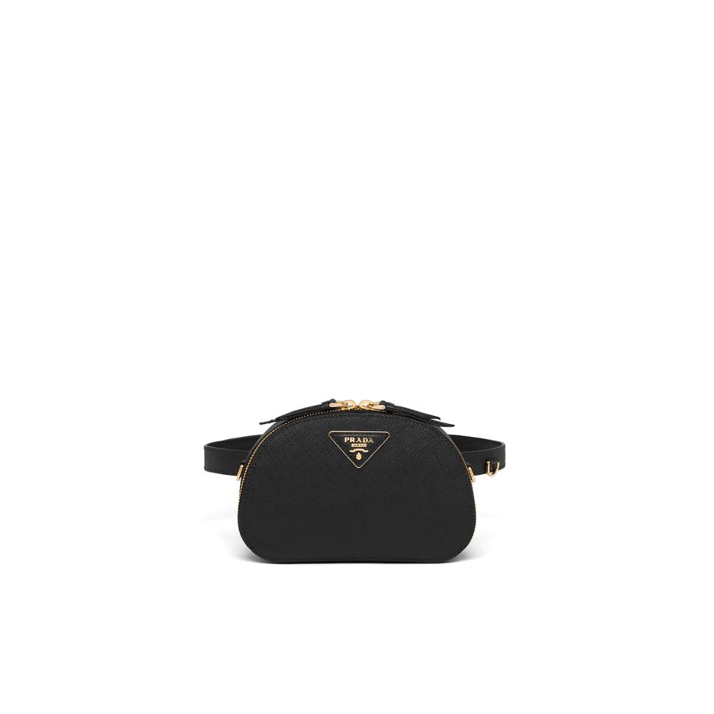 Black Prada Odette Saffiano Leather Belt Bag Womens Waist Bag Zipper Small Purse Phone Key 1BL023_NZV_F0002_V_OOG