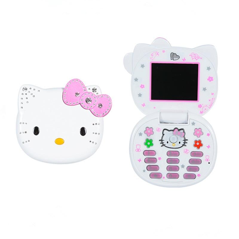 Cute Mini Girl Mobile Phone Quad Band Flip Cartoon Unlocked Kids Children Dual Sim CellPhone With Gift Cat Head Bag Lanyard