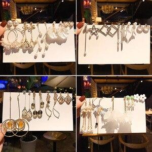 2020 moda masa perłowa kryształowy kolczyk zestaw dla kobiet długie kolczyki tassel gwiazda księżyc serce geometryczna kobieta koreańska biżuteria