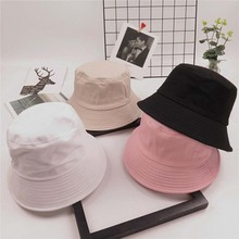 Korea Unisex Summer Collapsible Bucket Hat Solid Color Hip Hop Wide Side Beach UV Dome Sunscreen Fisherman Hat S21