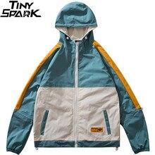 Men Hip Hop Jacket Streetwear Retro Vintage Color Block Hooded Jacket Windbreaker Harajuku 2020 Track Jackets Coat Hoodie Autumn