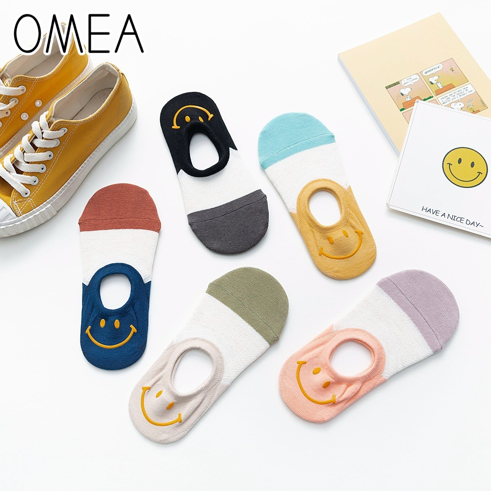 OMEA Happy Smile Sock Slippers Women 5 Pairs Hight Quality Cotton Invisible Socks Low Cut Sweet College Style Boat Socks Lovely