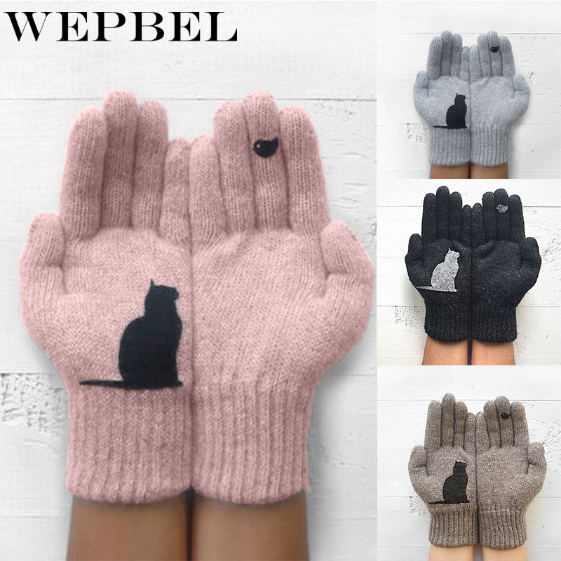 WEPBEL Women Gloves Cartoon Cat Bird Autumn Winter Warm Cashmere Thick Cute Fashion New Gloves