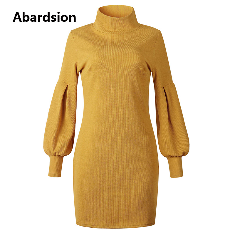 Image 4 - Abardsion Women Sweater Dress Autumn Winter Clothes 2019 Female Casual Loose Pink Puff Long Sleeve Turtleneck Knitted Dresses-in Dresses from Women's Clothing