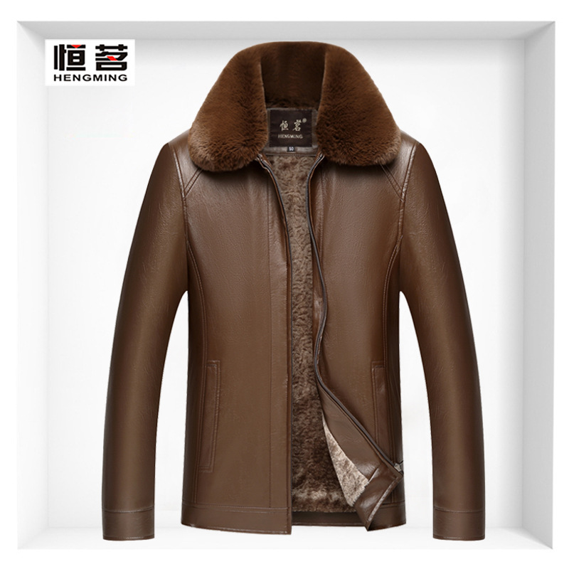 Winter New Style Middle-aged Fold-down Collar Zipper MEN'S Leather Coat MEN'S Leather Jacket Coat Men'S Wear Wandering Peddler