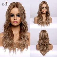 EASIHAIR-Peluca de cabello sintético para dama, cabellera artificial largo con ondas al agua y reflejos marrón claro, parte media, resistente al calor, Cosplay, Afo