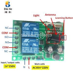 Image 2 - Módulo sem fio universal do receptor do relé da c.a. 85v 433 v 2ch do controle remoto de 220 mhz para a luz eletromecânica da lâmpada da porta da garagem
