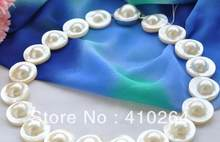 "Jewelry Pearl Necklace PERFECT AAA++ 18"" 22mm WHITE ROUND SOUTH SEA MABE PEARL NECKLACE Free Shipping(China)"