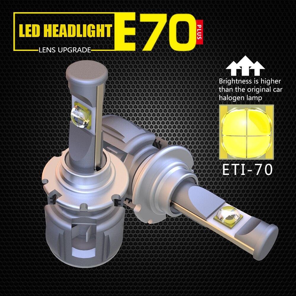 1 set 120W 12000lm E70 LED auto phare LED 12V H1 H3 H4 H7 H8 H9 H11 9005 9006 HB3 HB4 9012 HIR2 avec 6000k couleur blanc froid