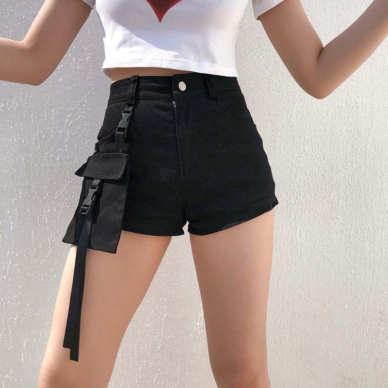 Cargo-Shorts Clubwear Pocket-Streetwear Harajuku Punk Black High-Waist Gothic Summer