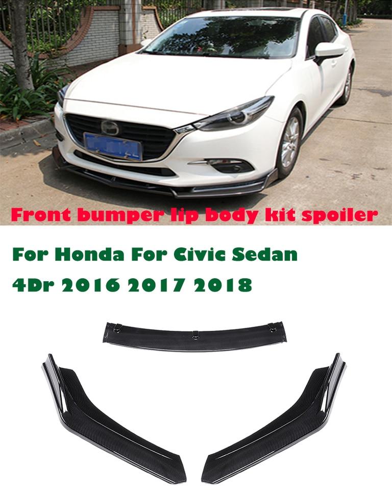 2018 Honda Civic Front Bumper : honda, civic, front, bumper, Front, Lower, Bumper, Diffuser, Spoiler, Carbon, Fiber, Look/Black, Honda, Civic, Sedan, 2018|Bumpers|, AliExpress